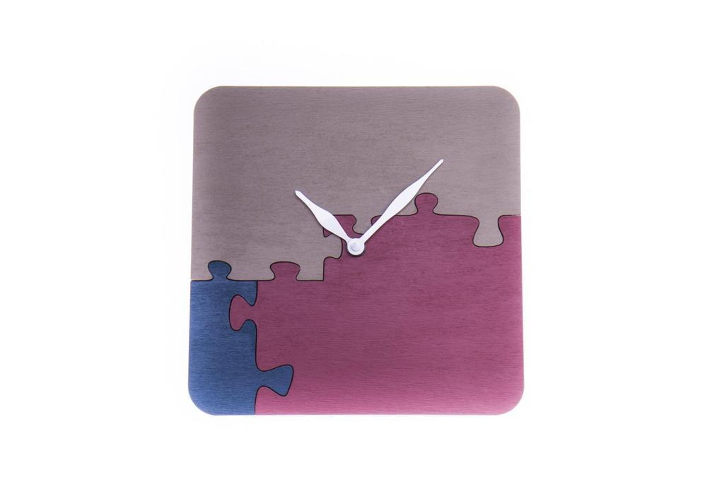 """""""Odteď budeme 3"""" - hodiny puzzle řemeslné ručně vyrobené"""